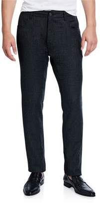 Canali Men's Birdseye Flannel Straight-Leg Pants, Charcoal