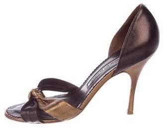 Manolo Blahnik Metallic Knot Sandals