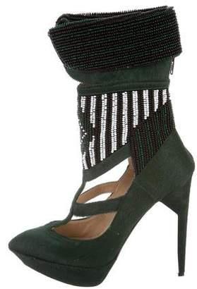 Nicholas Kirkwood x Rodarte Embellished Ponyhair Boots