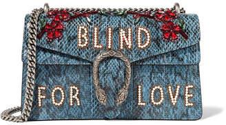 Gucci Dionysus Medium Embellished Elaphe Shoulder Bag - Blue