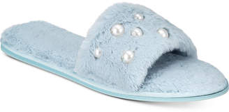 INC International Concepts I.N.C. Embellished Faux-Fur Slide Slippers, Created for Macy's