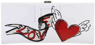 Roger Vivier Clutch Love Clutch Bag Small In Patent Leather