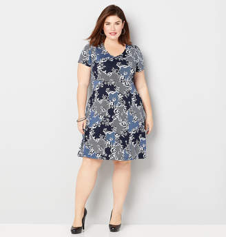 Avenue Floral and Lace Print Skater Dress