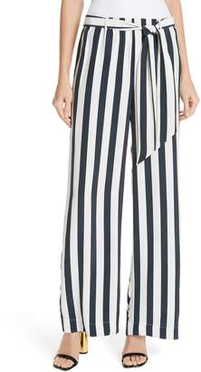 Frame Belted Stripe Wide Leg Silk Pants