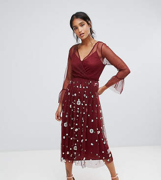 Lace and Beads Lace & Beads Embellished Tulle Dress With Frill Sleeve