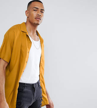 Asos Design DESIGN Tall oversized viscose batwing sleeve shirt in mustard