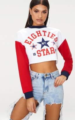 PrettyLittleThing White Eighties Slogan Crop Sweater