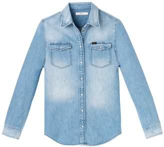 Lee Plain Long-Sleeved Shirt with Polo Shirt Collar
