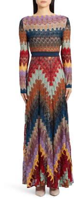 Missoni Metallic Zigzag Long Sleeve Knit Gown