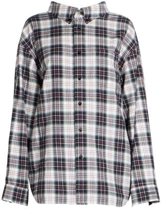 Balenciaga Plaid Swing Collar Flannel Shirt