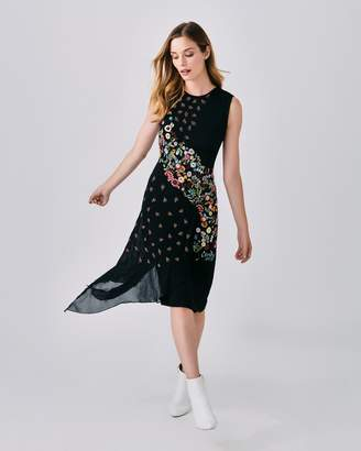 Nicole Miller Embellished Floral Nectary Asymm Dress