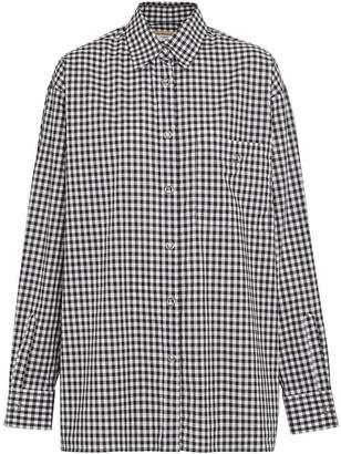 Burberry Puff-sleeve Gingham Cotton Shirt