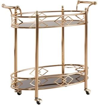 Weston Home Chelsea Lane Rose Gold Black Tempered Glass Metal Kitchen Cart