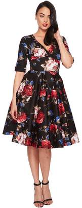 Unique Vintage Delores Swing Dress with Sleeves Women's Dress