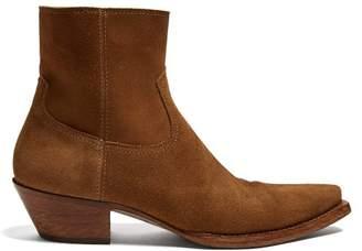 Saint Laurent Lukas Suede Ankle Boots - Mens - Brown