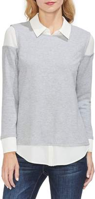 Vince Camuto Layered Look Brushed Jersey Top