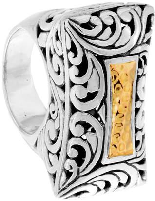 Bali Heritage Signature Carving Hamerred Sterling Silver Ring embellished by 18K Gold Accents
