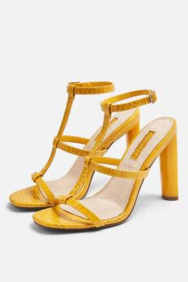 390cfd31d2935 Topshop Womens **Wide Fit River Strappy Block Heels - Yellow