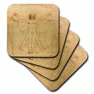 Leonardo 3dRose Vitruvian man by da Vinci 1490 - fine anatomical art - human anatomy pen and ink drawing, Soft Coasters, set of 4