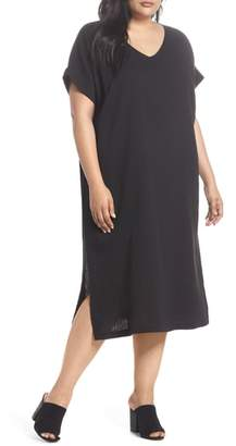 Eileen Fisher V-Neck Cotton Midi Dress