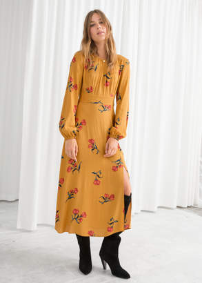 And other stories Floral Long Sleeve Midi Dress