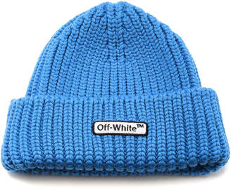 Off-White Knit Blue Patch Beanie
