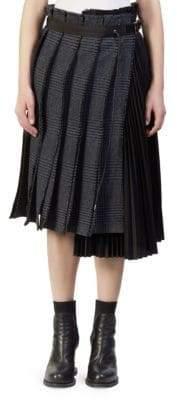 Sacai Glen Check Pleated Skirt