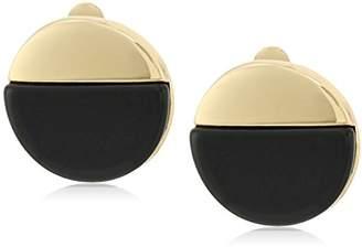 "T Tahari Bryant Park"" Bright Onyx Round Clip-On Earring"