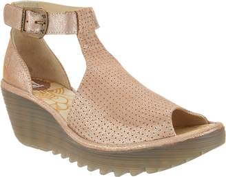 Fly London Perforated Leather Ankle Strap Wedges - Yehi