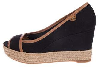Tory Burch Canvas Peep-Toe Espadrille Wedge Pumps