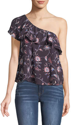 Astr One-Shoulder Floral Blouse