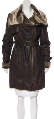 Andrew Marc Faux Fur Knee-Length Coat