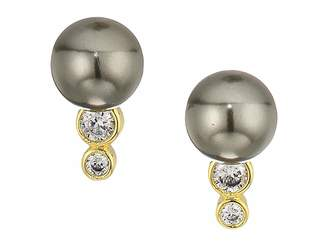 Cole Haan Pearl Stud Earrings with Cubic Zirconia Stone Accents