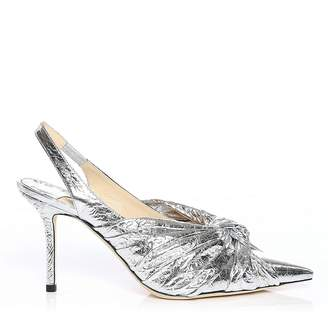 Jimmy Choo ANNABELL 85 Silver Metallic Foil Leather Sling Back Closed Toe Pumps