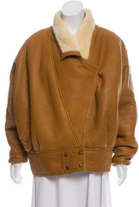 Andrew Marc Leather Shearling-Lined Jacket Tan Leather Shearling-Lined Jacket