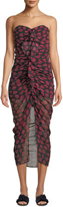 Contemporary Designer Peyton Strapless Ruched Lip-Print Silk Dress
