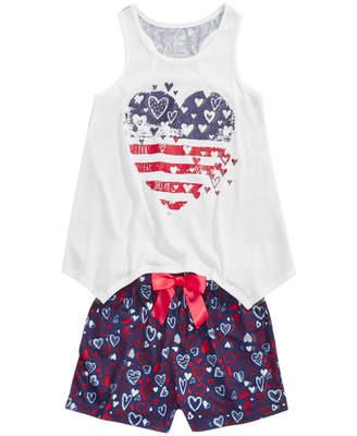 Max & Olivia 2-Pc. Hearts Pajama Set, Little Girls & Big Girls