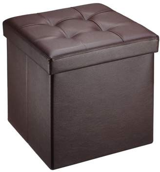 """Mllieroo 15"""" Folding Faux Leather Storage Ottoman/Footstool/Bench,Brown"""
