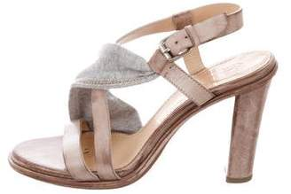Brunello Cucinelli Monili-Trimmed Ankle Strap Sandals