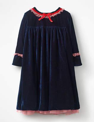 Boden Frill Trim Velvet Party Dress