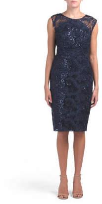 Sequined Lace Sheer Yoke Dress