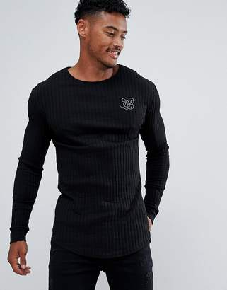 0b6f8e932d6e SikSilk long sleeve t-shirt in black rib