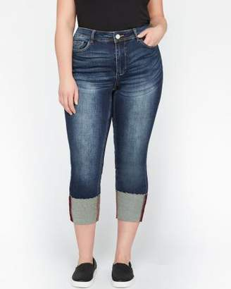 Addition Elle L&L Authentic Skinny Crop Denim with Over-sized Cuff
