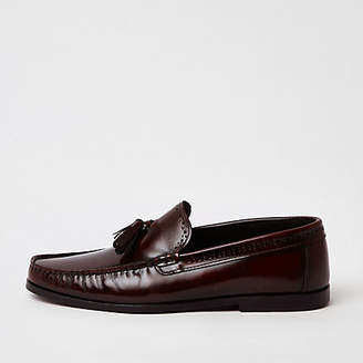 River Island Dark red leather tassel loafers