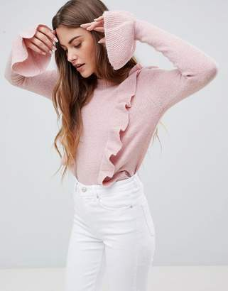 MBYM Ruffle Sweater With Fluted Sleeve