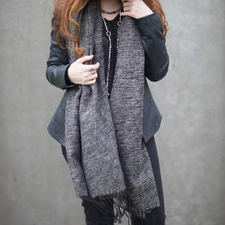 Marquis & Dawe Black And Natural Knitted Stripe Scarf