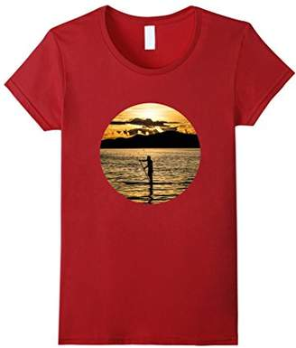 Casual Trendy Hot Summer Top Paddle Board Sunset T-shirt