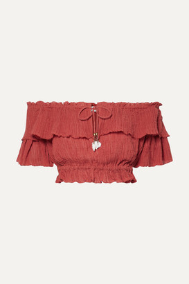 Zimmermann Veneto Cropped Off-the-shoulder Crinkled Ramie And Cotton-blend Gauze Top - Brick