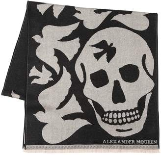 Alexander McQueen Oversized Skull & Doves Wool Scarf