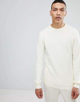 Lindbergh Structured Crew Neck Sweater in Off White